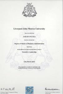 Ing. Jakub Unucka, MBA. Diplom ze studia v MBA kurzu. S vyznamenáním :-)